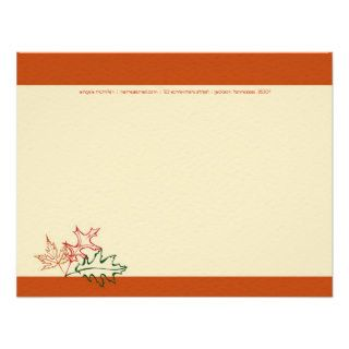 Fall Autumn Leaves Note Cards Announcement