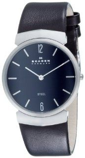 Skagen Men's Steel Collection Stainless Steel Black Leather Watch #695XLSLB Skagen Watches