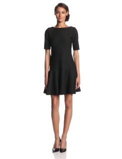 Isaac Mizrahi New York Women's Elbow Sleeve Icon Boat Neck Dress