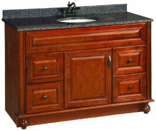 Design House 538561 48 Inch by 21 Inch Montclair Fully Assembled 1 Door/4 Drawer Vanity, Chestnut