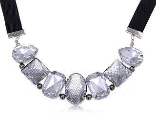 Crystal Clear Rhinestone Mesh Cover Big Gems Fashion Ribbon Costume Necklace Pendant Necklaces Jewelry