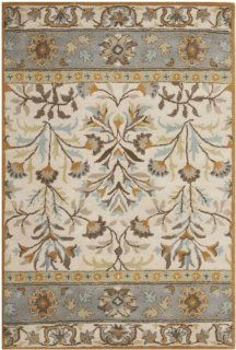 Safavieh Jardin Collection JAR726A Handmade Wool Area Rug, 4 Feet by 6 Feet, Ivory and Blue