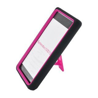Eagle Cell PALGUS730SPSTHPKBK Advanced Rugged Armor Hybrid Combo Case with Kickstand for LG Splendor / Venice US730   Retail Packaging   Hot Pink/Black Cell Phones & Accessories