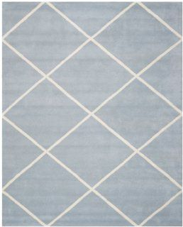 Safavieh CHT720B Chatham Collection Wool Handmade Area Rug, 8 Feet by 10 Feet, Blue and Ivory