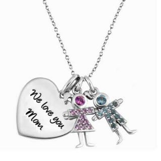Sterling Silver Heart Pendant with Two Birthstone Children by