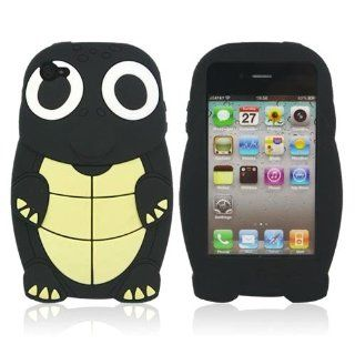 Black Turtle Designs Silicone Case for Apple iPhone 4 / 4S+ Free Screen Protector and Charge USB Cable (1871 7) Cell Phones & Accessories