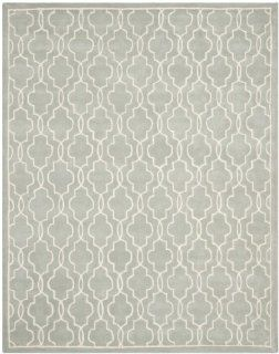 Safavieh CHT723E Chatham Collection Wool Handmade Area Rug, 8 Feet by 10 Feet, Grey and Ivory