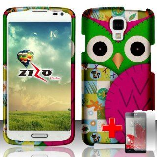 LG Volt LS740   2 Piece Snap On Rubberized Image Case Cover, Pink Green Cute Cartoon Owl Design + SCREEN PROTECTOR Cell Phones & Accessories