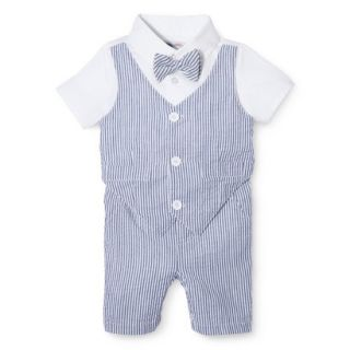 G Cutee Newborn Boys Short Sleeve Seersucker Romper   Nautical Blue 12 M