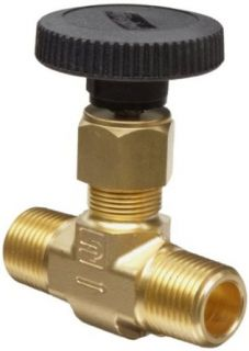 "Parker V Series Brass Needle Valve, Inline, Hand Wheel, PCTFE Tipped Stem, 1/4"" NPT Male Industrial Needle Valves"