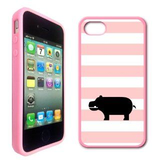 Love Hippos Baby Pink Stripes Cute Hipster Pink Silicon Bumper iPhone 4 Case Fits iPhone 4 & iPhone 4S Cell Phones & Accessories