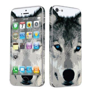 Apple iPhone 5 Full Body Vinyl Decal Protection Sticker Skin Wolf By Skinguardz Cell Phones & Accessories