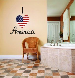 I love heart America United States Patriotism US Pride Peel & Stick Sticker Picture Art Graphic Design Vinyl Wall   Best Selling Cling Transfer Decal Color 778 Size  30 Inches X 50 Inches   22 Colors Available   Wall Decor Stickers