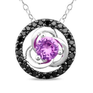 "10k White Gold, Black Diamond and Created Pink Sapphire Pendant Necklace with Chain, (.25 cttw), 17"" Jewelry"