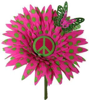 VW Beetle Flower   Pink Green Polka Dot Peace Sign Daisy  Baby