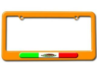 Mexican Flag   Mexico License Plate Tag Frame   Color Orange Automotive