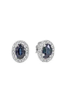 Effy Jewlery White Gold Blue Sapphire & Diamond Earrings, 1.12 TCW Effy Jewelry