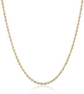 "Duragold 14k Yellow Gold Solid Diamond Cut Rope Chain Necklace (2.0mm), 24"" Jewelry"