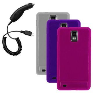 Cbus Wireless Three Flex Gel Cases / Skins / Covers (Clear, Purple, Hot Pink) & Car Charger for Samsung Infuse 4G / i997 Cell Phones & Accessories