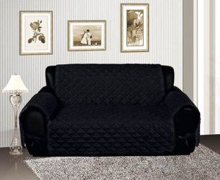 Black Quilted Micro Suede Pet Dog Loveseat Slipcover Protector Throw   Slipcover Sets