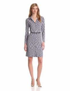 Anne Klein Women's Diamond Print Belted Dress, New Marine Multi, Medium