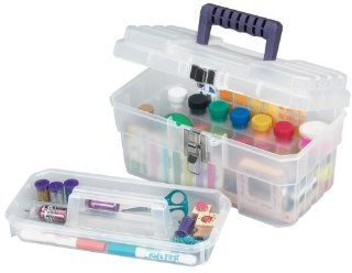Akro Mils 09514 CFT 14 Inch Plastic Art Supply Craft Storage Tool Box, Semi Clear