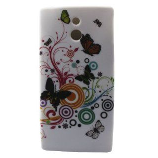 Early shop Floral Ring Butterfly Image Rubber Shell Case Protector for Sony Xperia P LT22i Cell Phones & Accessories