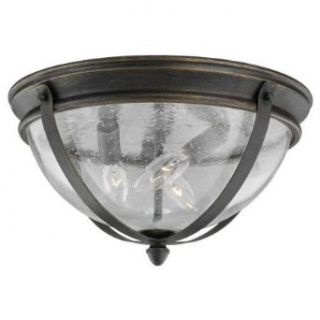 Sea Gull Lighting 78195 802 Three Light Outdoor Ceiling Fixture from the Kingston Collection, Obsidian Mist   Close To Ceiling Light Fixtures