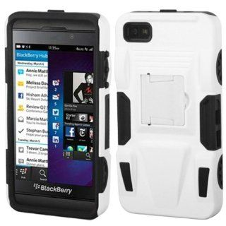 MyBat ABB10HPCSAAS802NP Advanced Rugged Armor Hybrid Combo Case with Kickstand for BlackBerry Z10   Retail Packaging   White/Black Cell Phones & Accessories