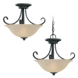 Sea Gull Lighting 51120 814 Del Prato Collection Two Light Pendant, Misted Bronze Finish with Seeded Acid Etch Caf� Tint Glass   Ceiling Pendant Fixtures