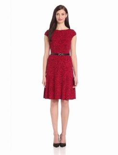Anne Klein Women's Cap Sleeve Leopard Swing Dress, Cardinal Combo, 10