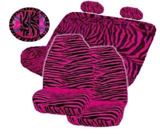 9 Pieces Hot Pink Zebra High Back Front Seat Covers and Bench Seat Cover Set Automotive
