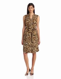 Jones New York Women's Sleeveless Shirt Dress, Biscuit Multi, Small