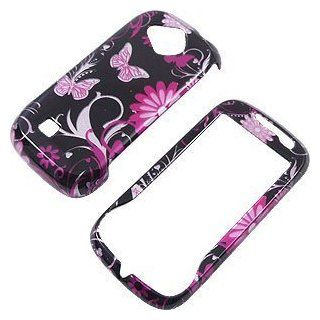 Boost Samsung Reality U820 U370 Accessory   Pink Butterfly Black Flower Design Protective Hard Case Cover Cell Phones & Accessories