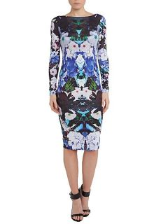 Lipsy Floral print long sleeve bodycon dress Multi Coloured