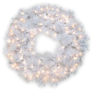 National Tree 30 Inch Wispy Willow Grande White Wreath with Silver Glitter and 100 Velvet Frost White Lights   Artificial Christmas Wreaths