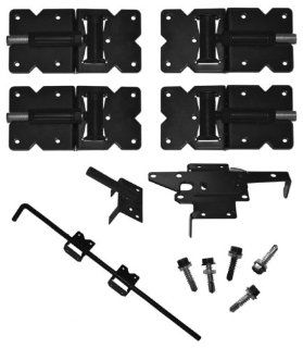 Vinyl Fence Hardware   Double Gate Kit   Black (Vinyl Gate Hinges, Latch and Drop Rod)