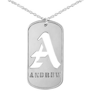 Cut Out Initial Dog Tag Pendant in Sterling Silver (8 Letters)   Zales