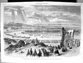 Antique Print of 1860 Review Rifle Volunteers Queen'S Park Edinburgh Scotland Keeley Halswell