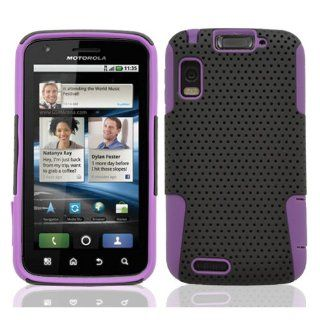MINITURTLE, Premium 2 in 1 Double Layer Perforated Hard Hybrid Phone Case Cover for Motorola Atrx 4G MB860 (Black / Purple) Cell Phones & Accessories