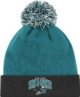 San Jose Sharks Arched Logo Vintage Cuffed Pom Hat  Sports Fan Beanies  Sports & Outdoors