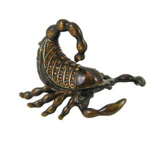 Scorpion Trinket Jewelry Box   Bejeweled Collectible Figurine   Brown   Decorative Boxes
