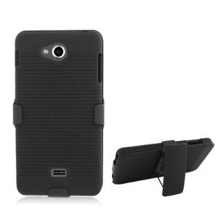 Aimo Wireless LGMS870PCBEC001 Shell Holster Combo Protective Case for LG Spirit MS870 with Kickstand Belt Clip and Holster   Retail Packaging   Black Cell Phones & Accessories