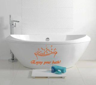 Housewares Vinyl Decal Beautiful Sign Enjoy Your Bath Home Wall Art Decor Removable Stylish Sticker Mural Unique Design for Nursery Room