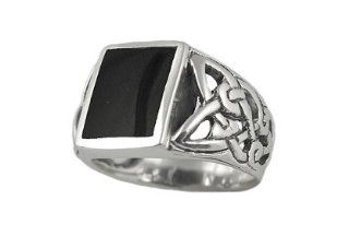 Sterling Silver 10x16mm Black Onyx Mens Ring (Size 11) Jewelry