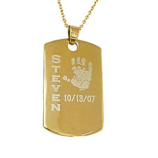 Baby Handprint Dog Tag Pendant in Sterling Silver with 24K Gold Plate