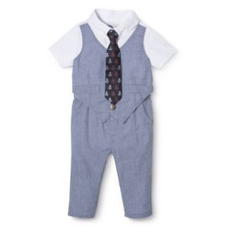 G Cutee Newborn Boys Short Sleeve Solid Romper   Chambray 12 M