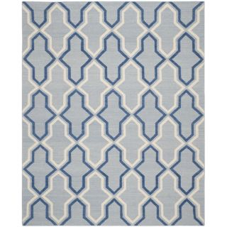 Safavieh Hand woven Moroccan Dhurries Light Blue/ Dark Blue Wool Rug (6 X 9)