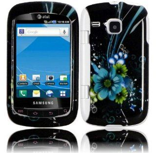 Blue Flower Hard Case Cover for Samsung Doubletime i857 Cell Phones & Accessories