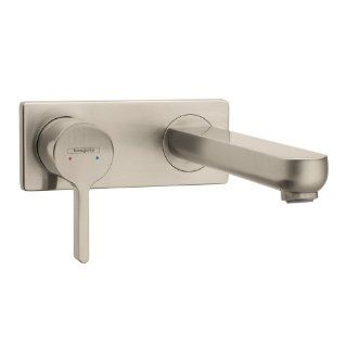 Hansgrohe 31163821 Metris S Wall Mounted Single Handle Faucet, Brushed Nickel   Bathroom Sink Faucets